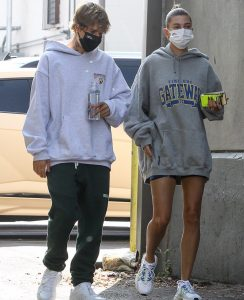 West Hollywood, CA  - Justin Bieber and wife Hailey seen making a stop to grab breakfast this morning after a workout. The couple looked cozy in oversized hoodies as Fall is officially here.